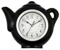 BLACK or WHITE TEAPOT Design Wall Clock  - 23cm High NEW
